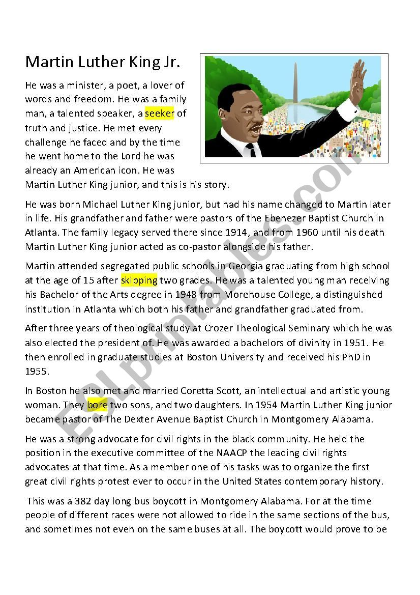 - Martin Luther King Jr. A 5 Minute Biography - ESL Worksheet By
