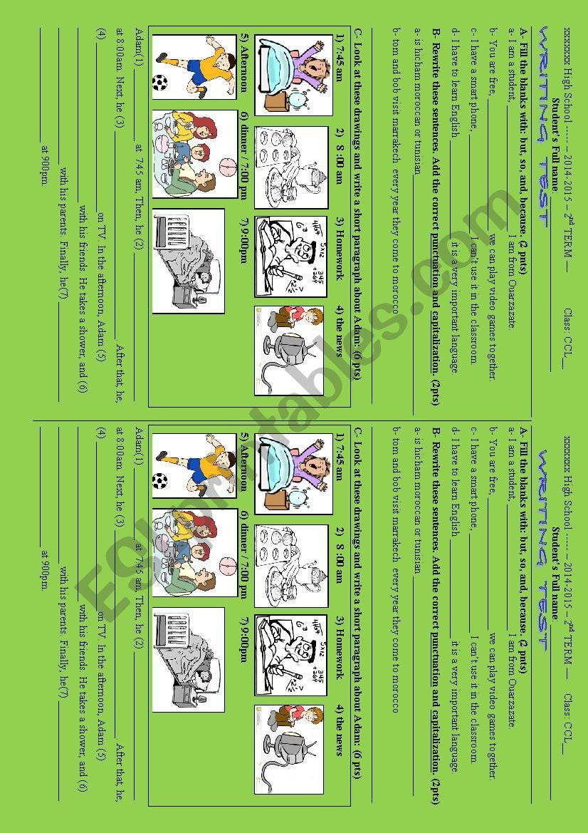 Writing quiz worksheet