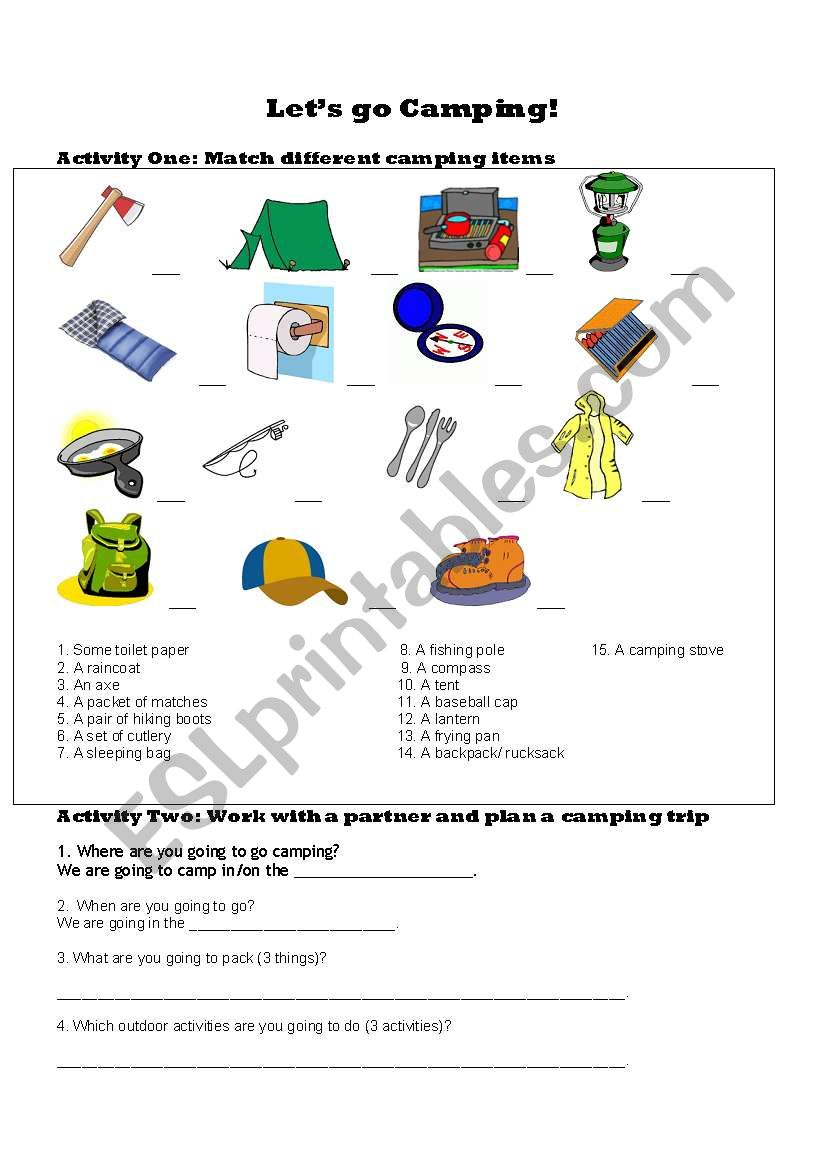 let s go camping esl worksheet by jaymel. Black Bedroom Furniture Sets. Home Design Ideas