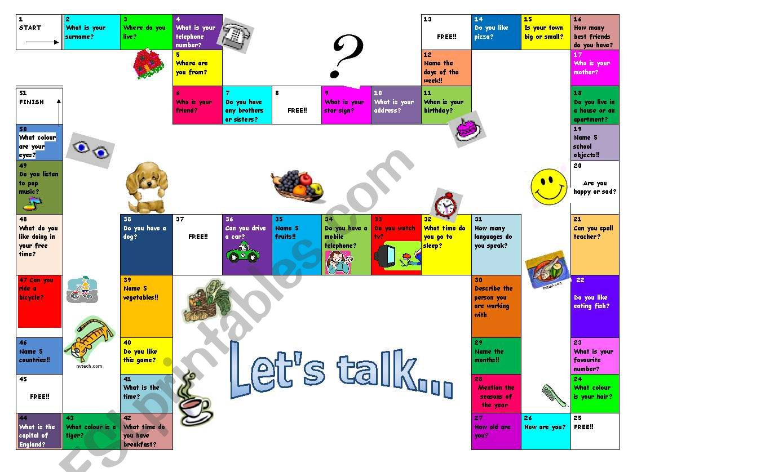 Board Game Elementary Level worksheet