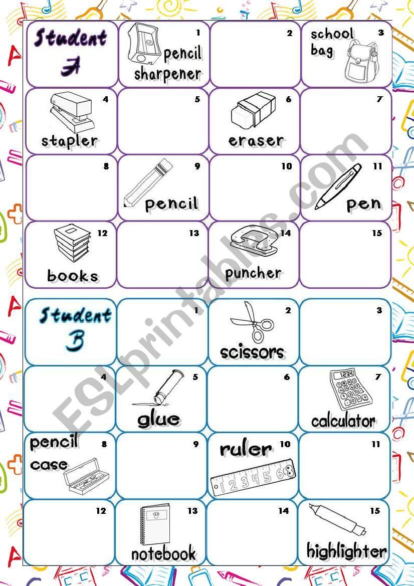 Alphabeth & School objects worksheet