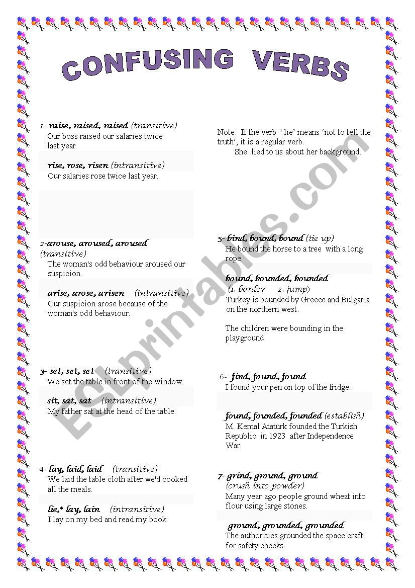 Confusing Verbs Esl Worksheet By Moonshine