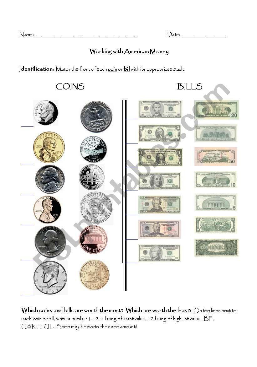 Counting American Money worksheet