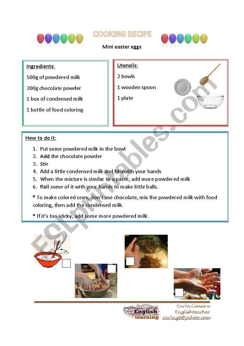 Easter cooking recipe worksheet