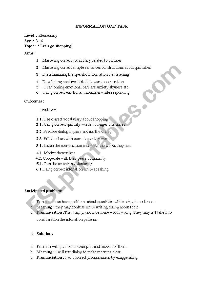 information gap activity - ESL worksheet by selin123
