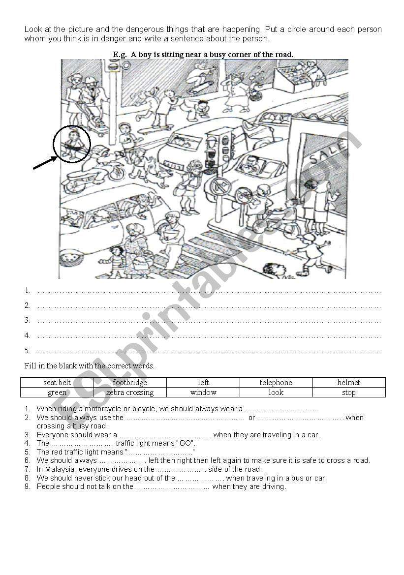 road safety worksheet