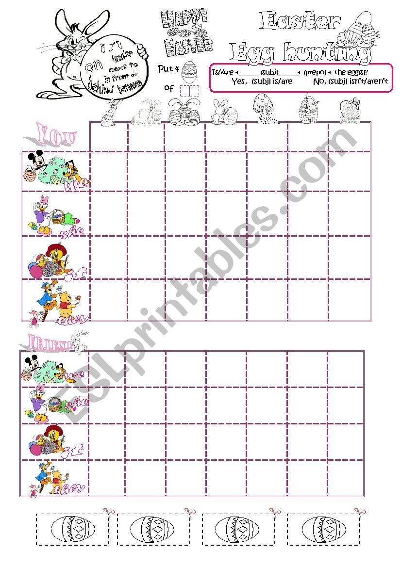 Easter egg hunting battleship worksheet
