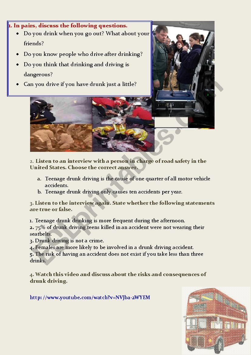 Listening about safe driving - ESL worksheet by persefone28