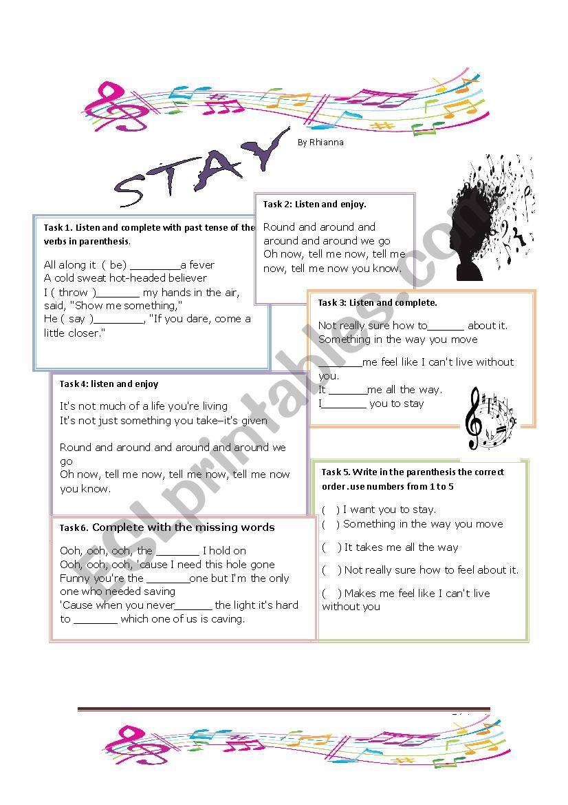 Stay by Rihanna worksheet