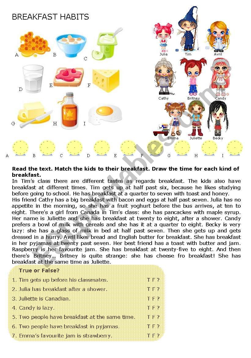 Breakfast Habits worksheet