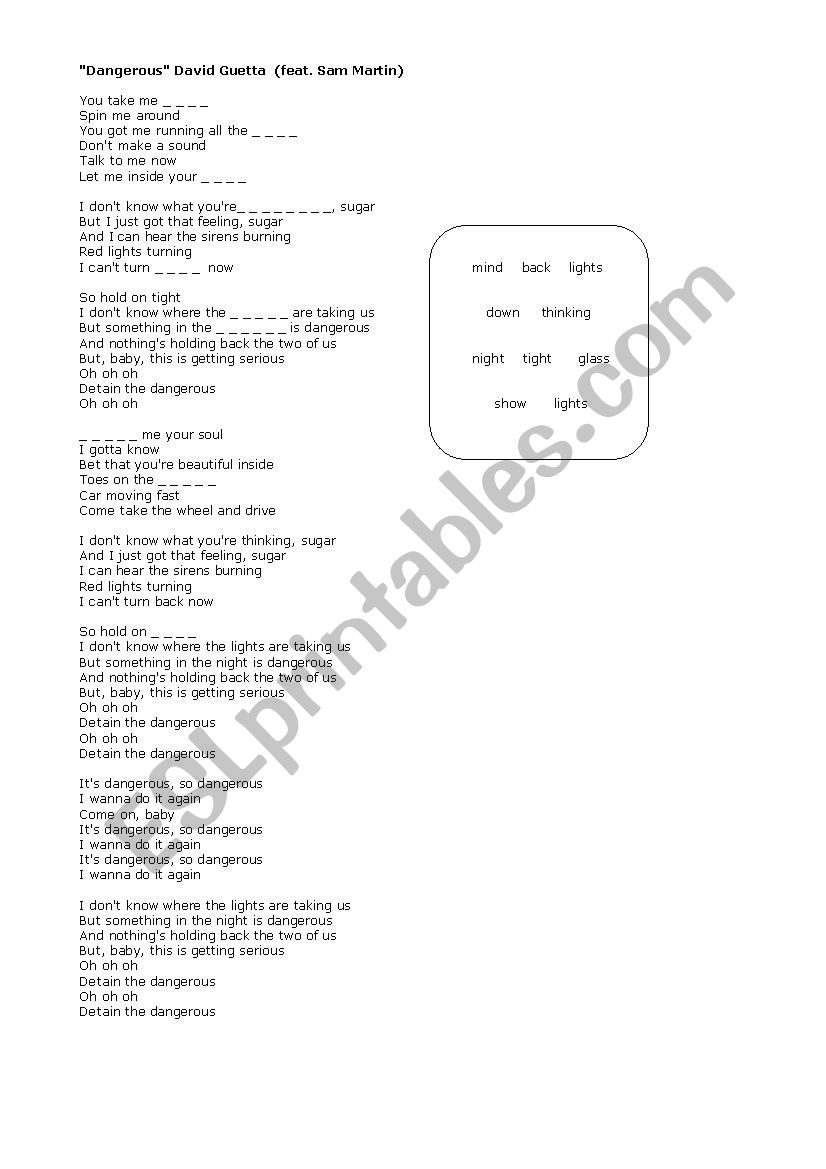 David Guetta-Dangerous Song Worksheet