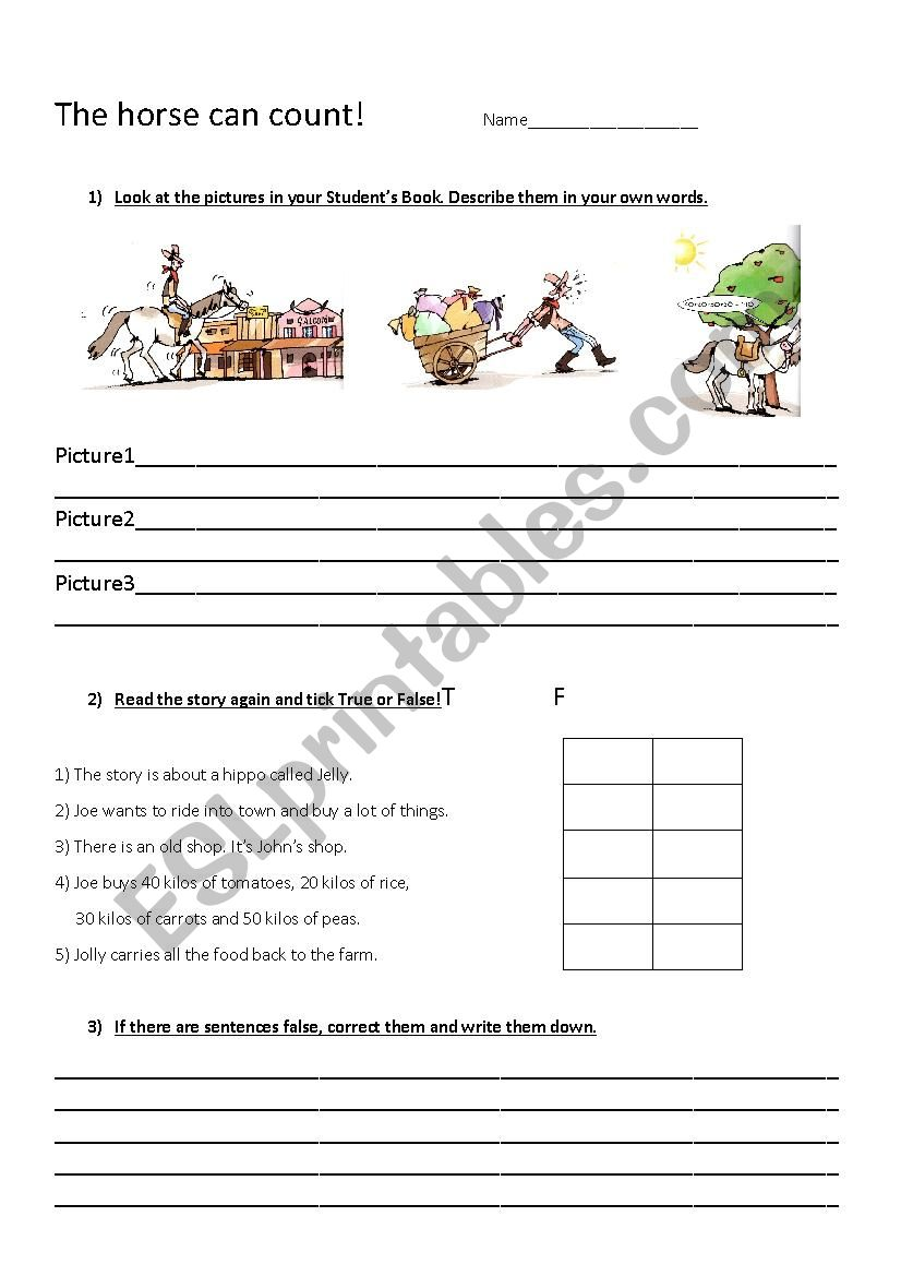 The horse can count!  worksheet