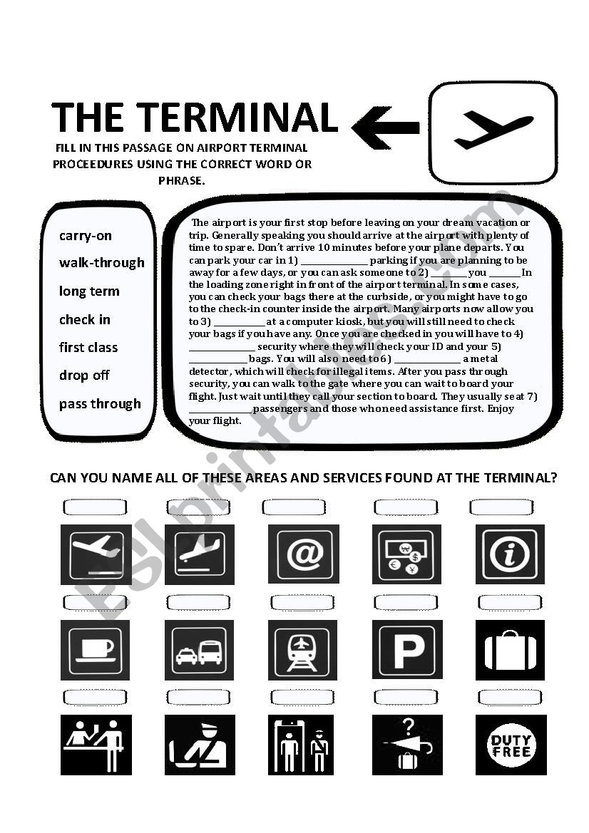 THE TERMINAL WORKSHEET worksheet