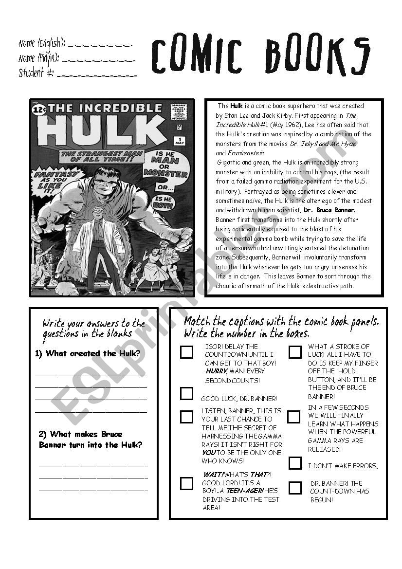 THE  HULK READING AND COMPREHENSION WORKSHEET