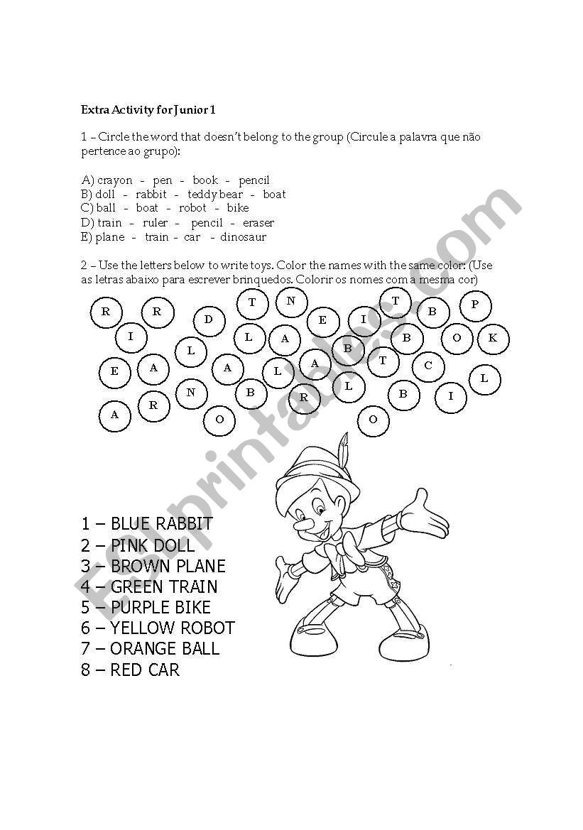 EXERCISES - TOYS worksheet