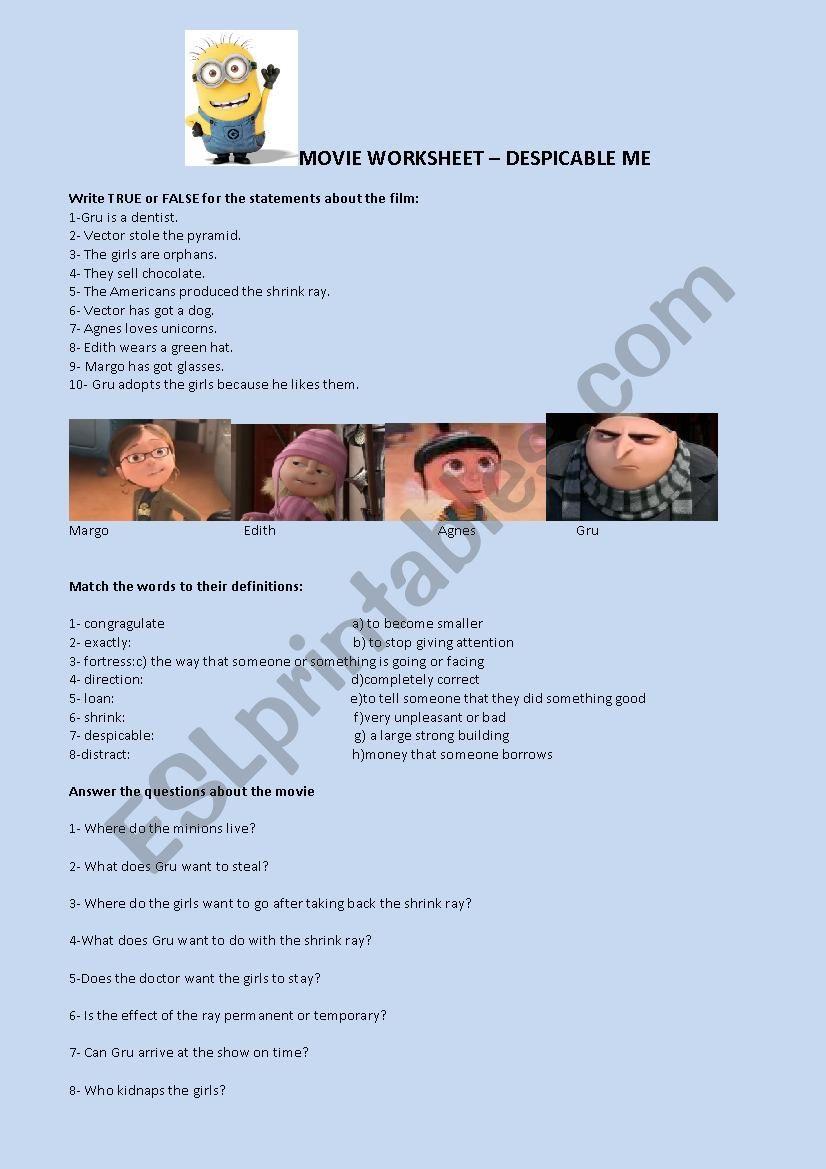 Movie worksheet despicable me worksheet