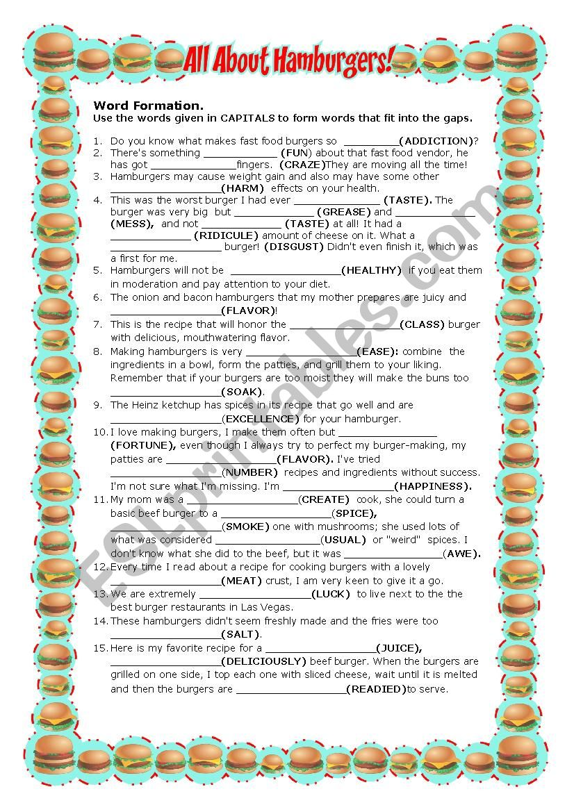 All About Hamburgers worksheet