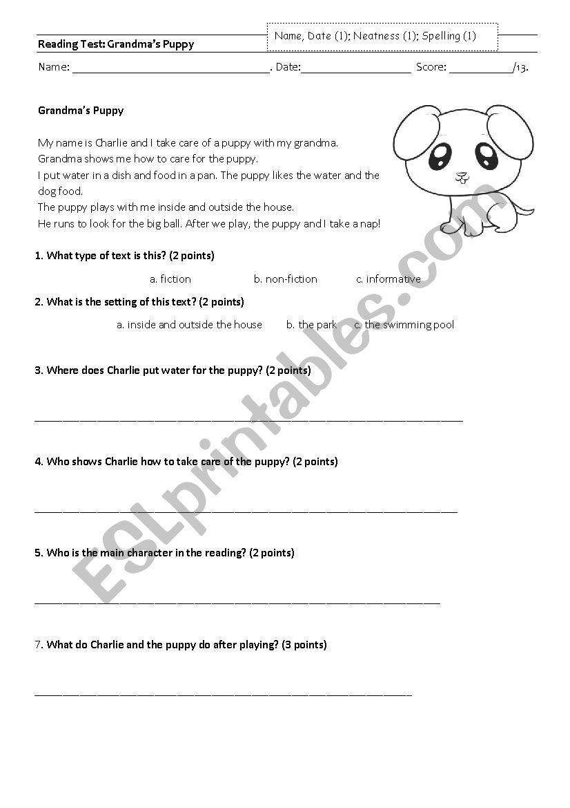 Reading test first or second grade - ESL worksheet by ...
