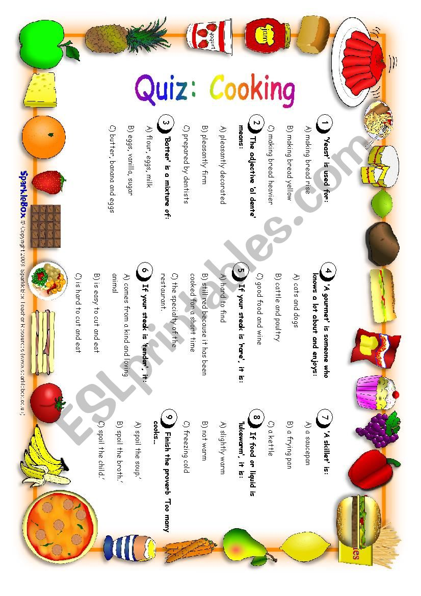 Quiz: Cooking worksheet