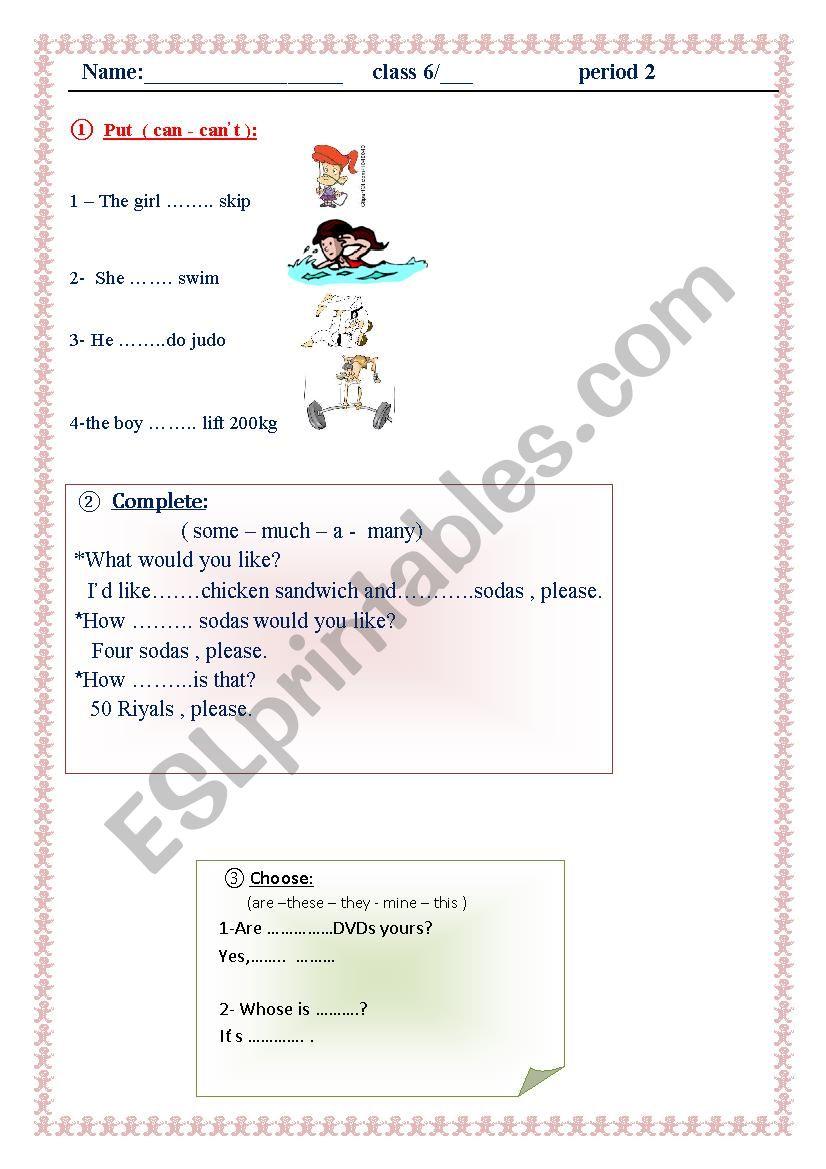 exercises worksheet