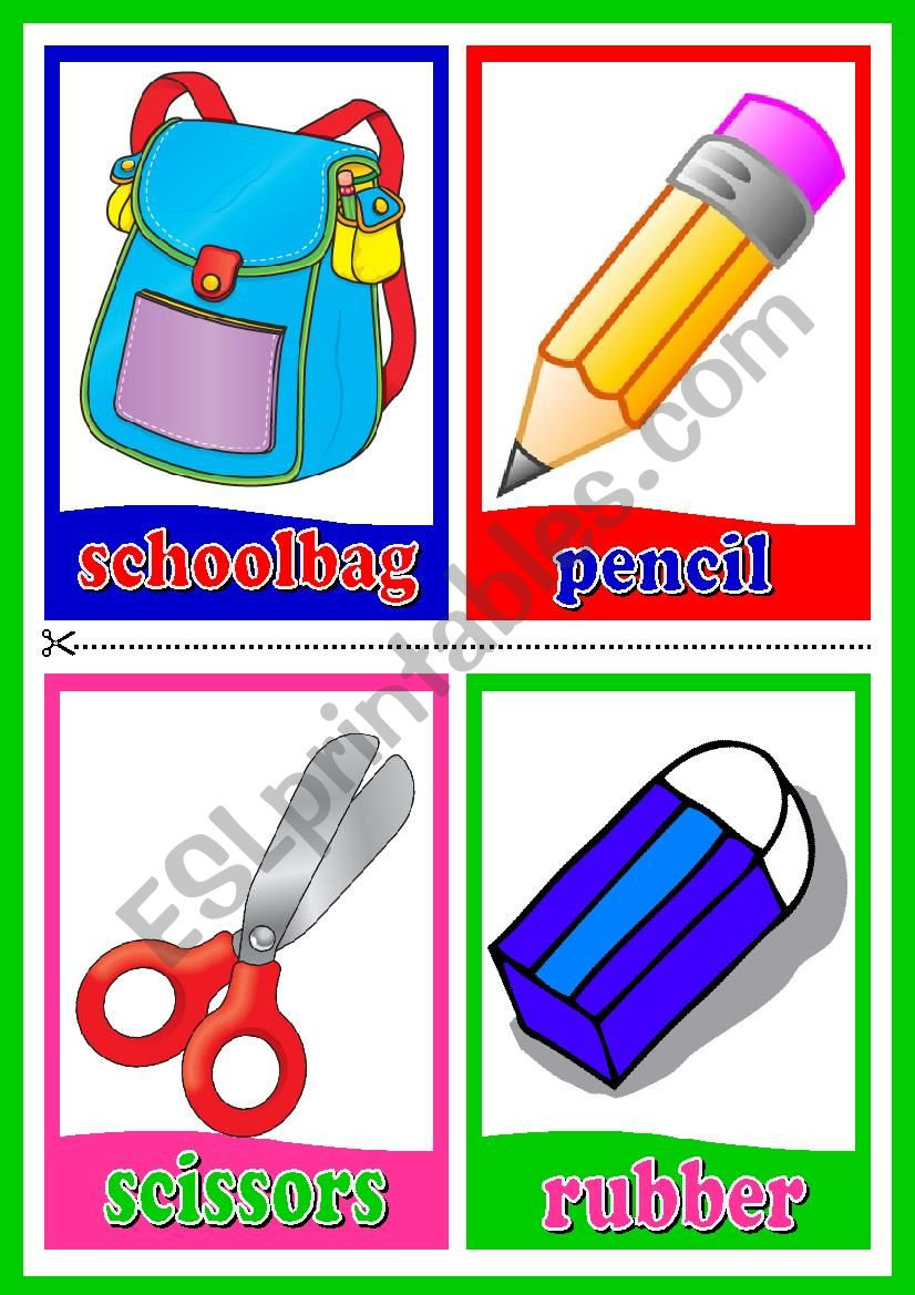 Classroom Objects Flashcards worksheet