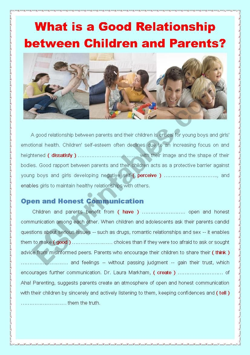 What is a good relationship between children and parents esl what is a good relationship between children and parents ibookread PDF