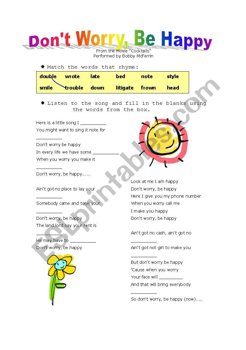 Song Don T Worry Be Happy Esl Worksheet By Purpleflower