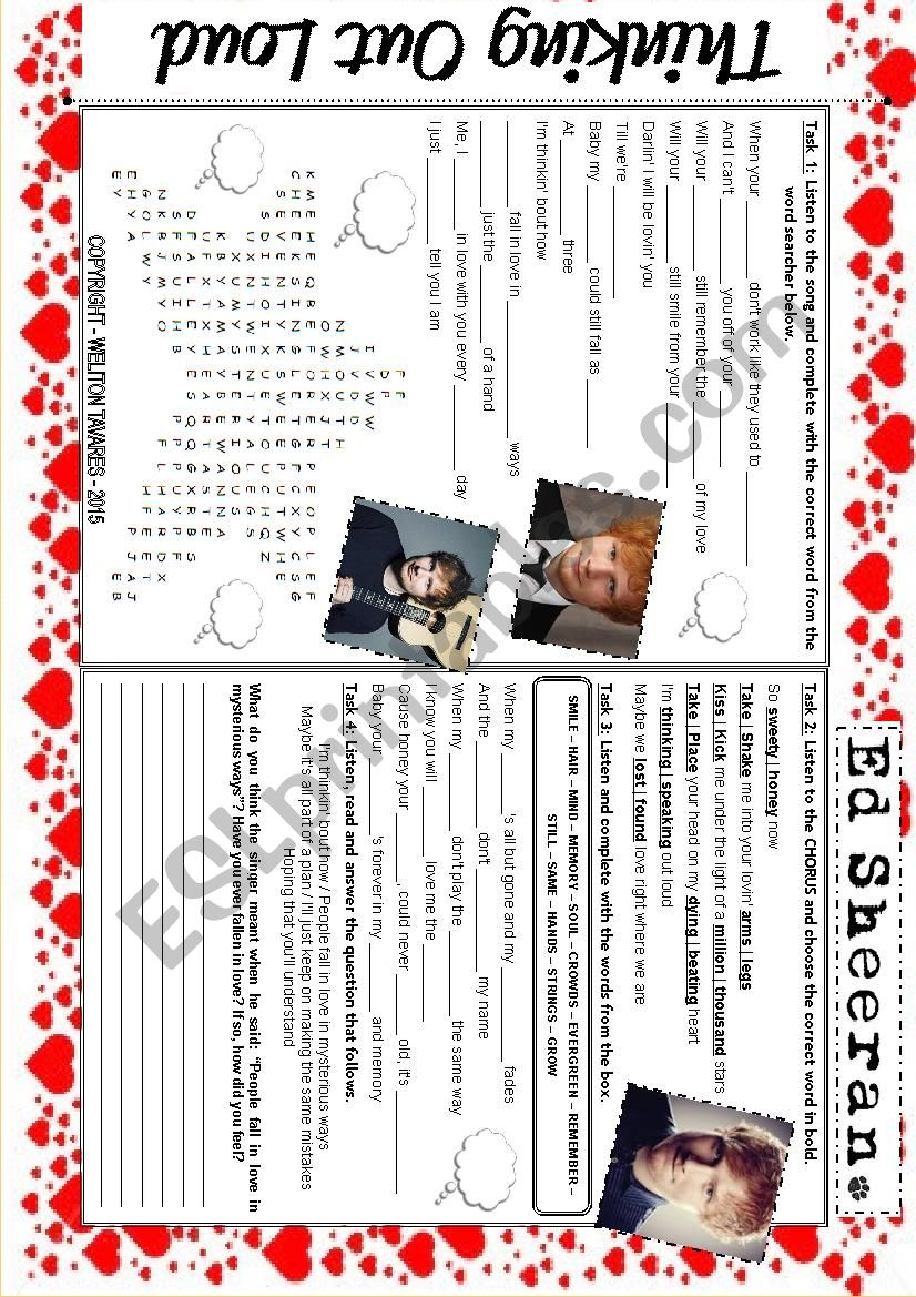 ....:::: SONG WORKSHEET -- THINKING OUT LOUD -- ED SHEERAN ::::....
