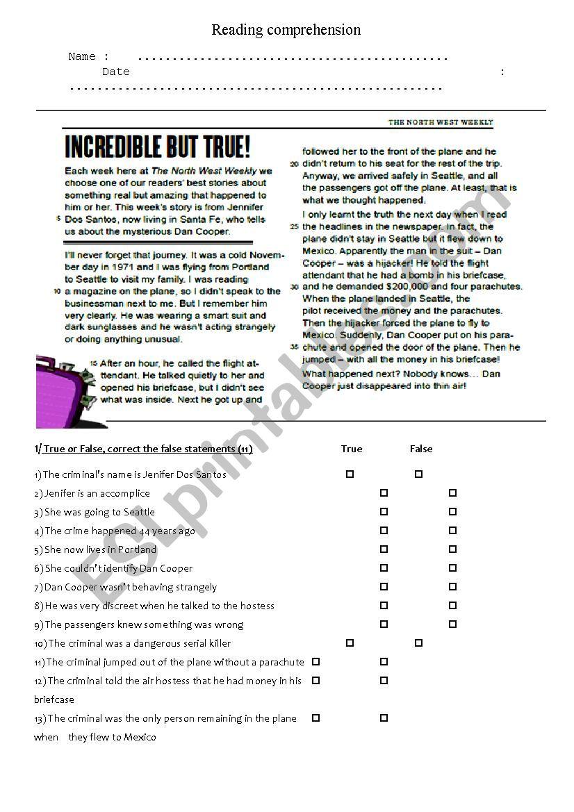 crime newspaper article esl worksheet by mrsfavre. Black Bedroom Furniture Sets. Home Design Ideas
