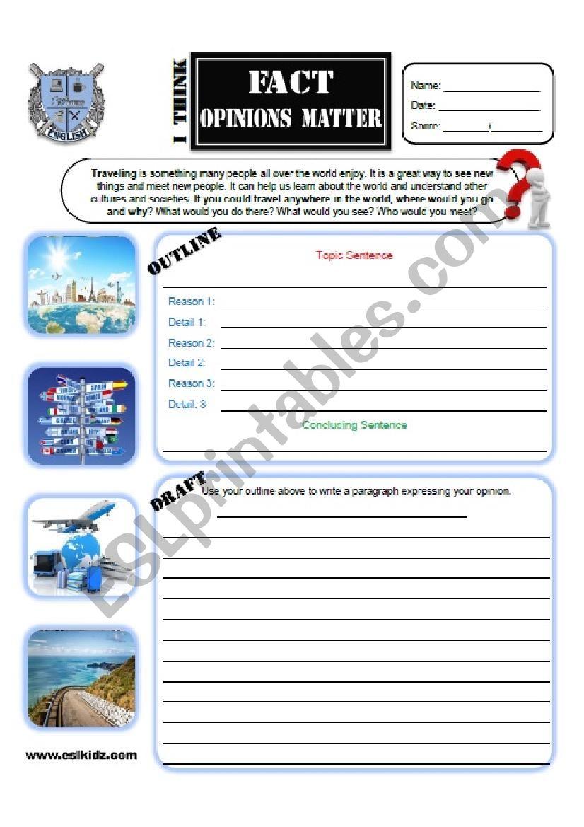 Travel Opinion Writing  worksheet