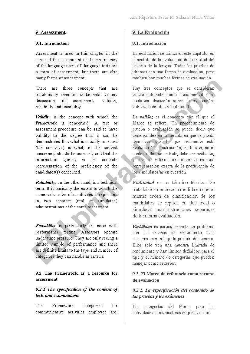 Assessment worksheet