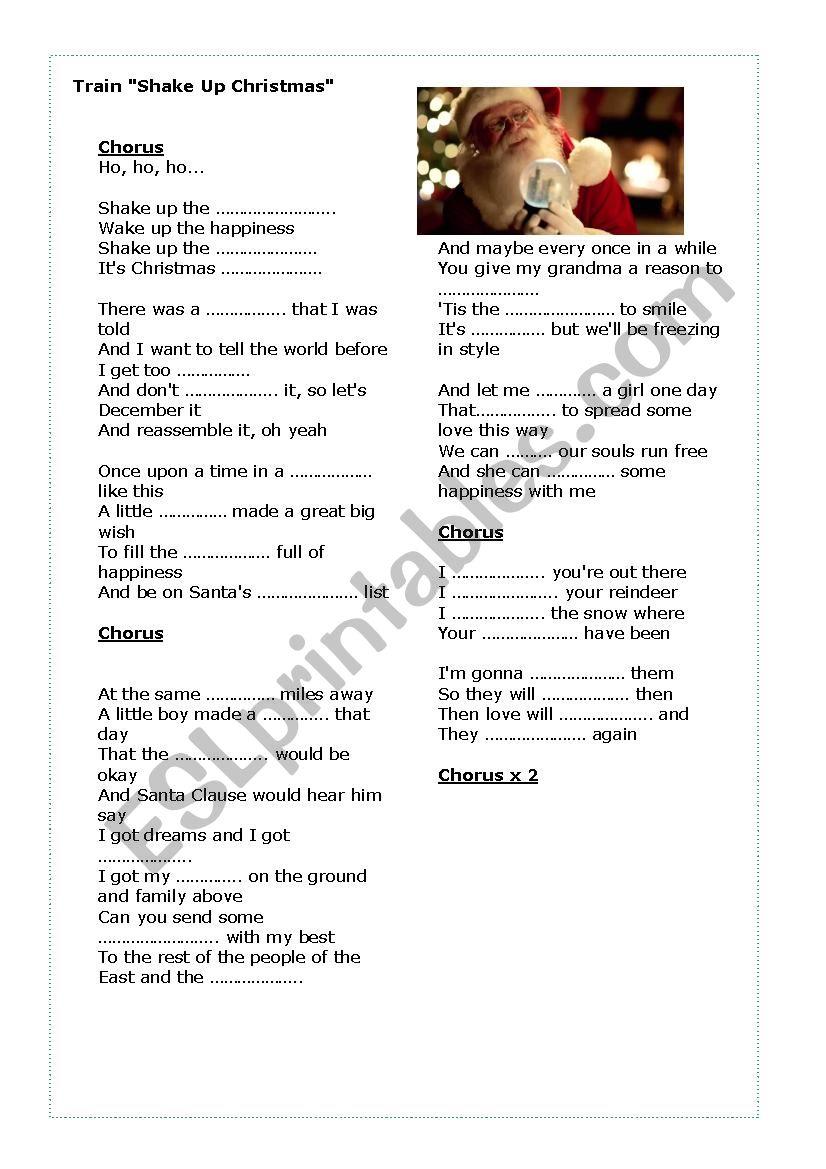 Train Shake Up Christmas Song activity - ESL worksheet by mal1206