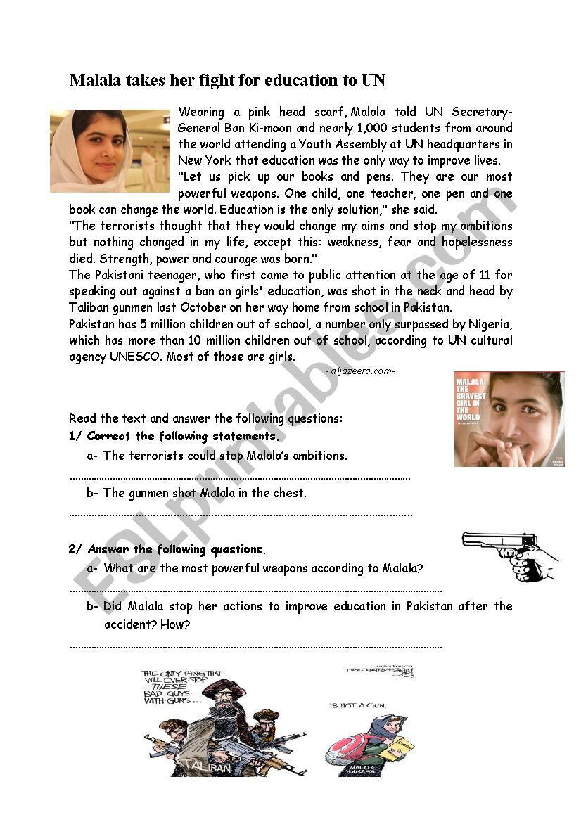 Malala´s_fight_for_education worksheet