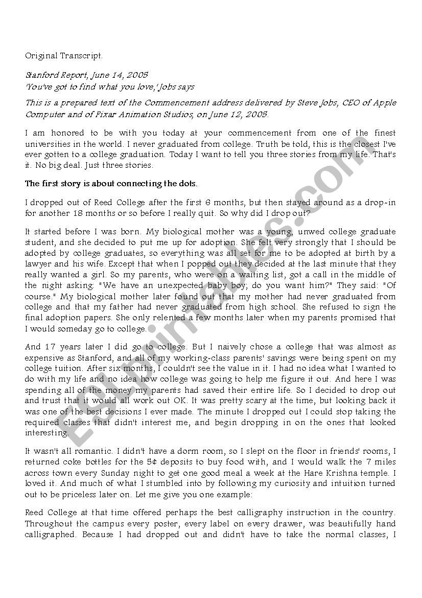 Steve Jobs-2005 commencement speech - ESL worksheet by sage222222