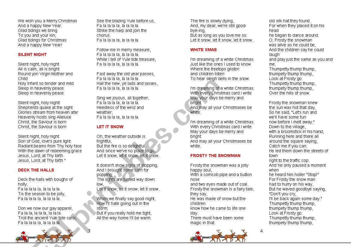 photograph about Christmas Carol Lyrics Printable Booklet identified as booklet with christmas carol lyrics - ESL worksheet by means of Airun