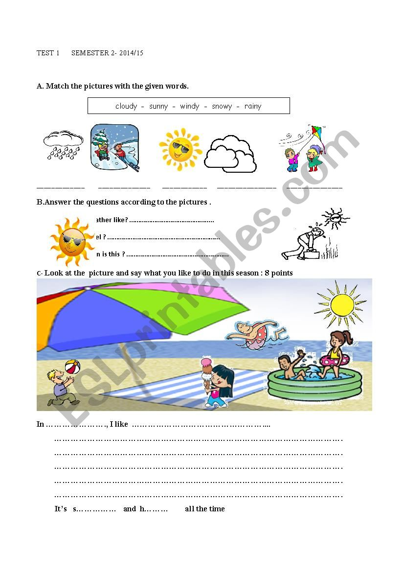 test on seasons, weather and activities