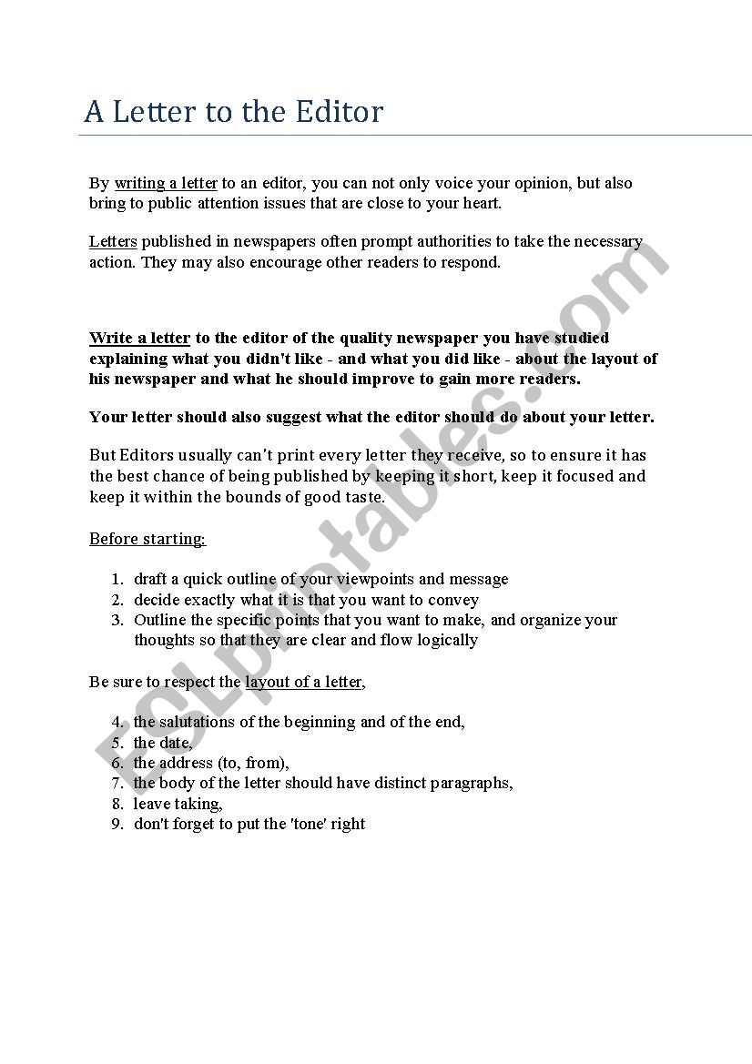 How to write a letter to the editor - ESL worksheet by hardcase