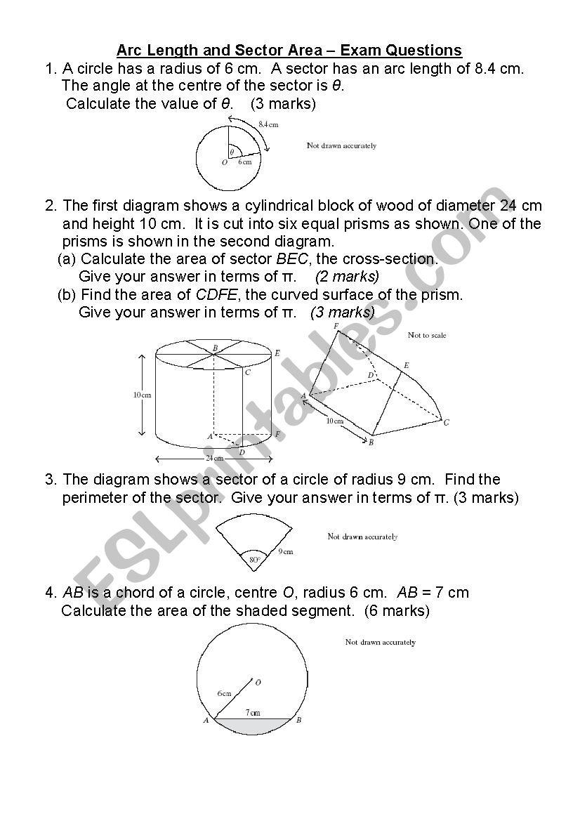 maths arc sectors - ESL worksheet by jadeyn98