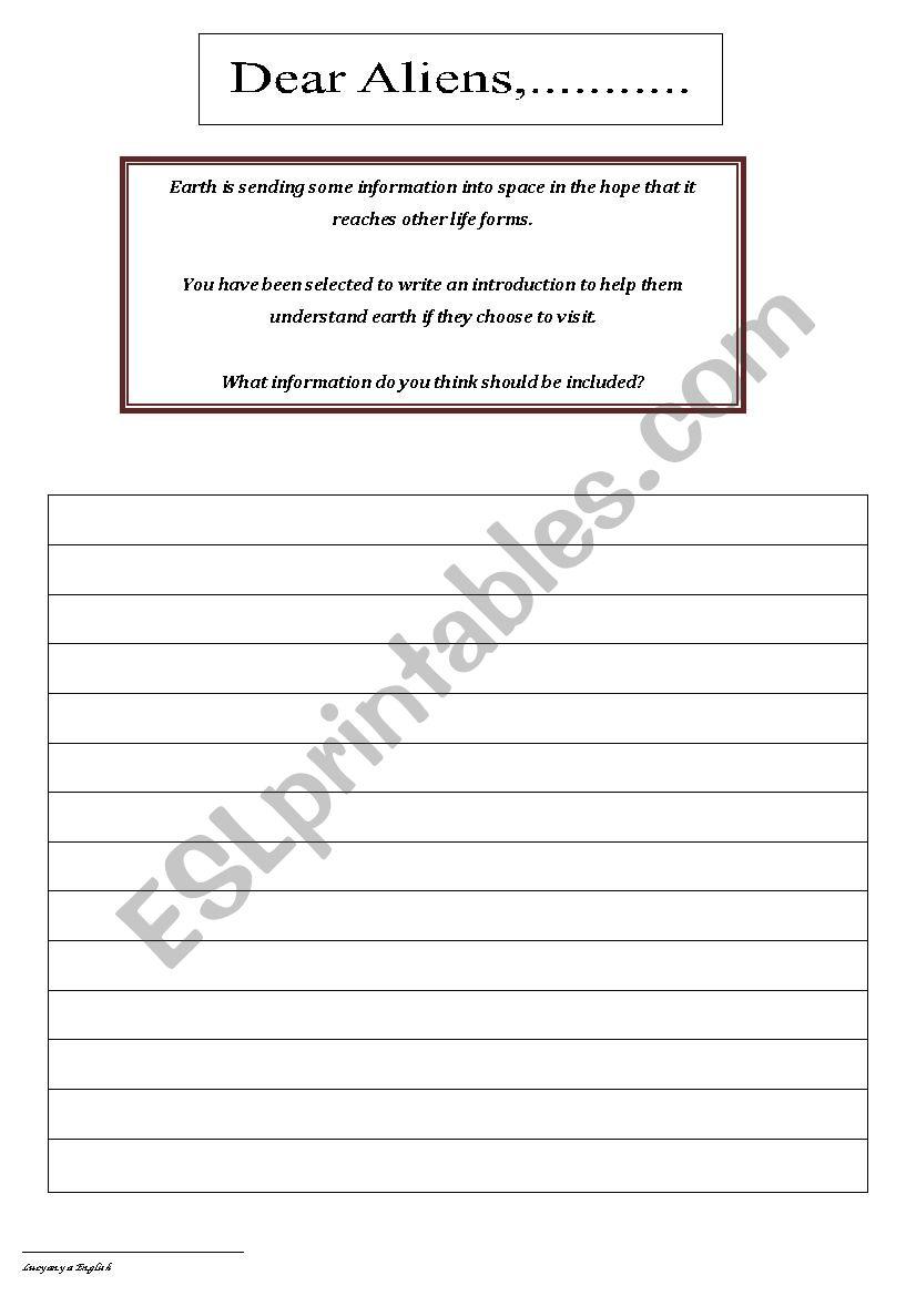 Dear Alien worksheet
