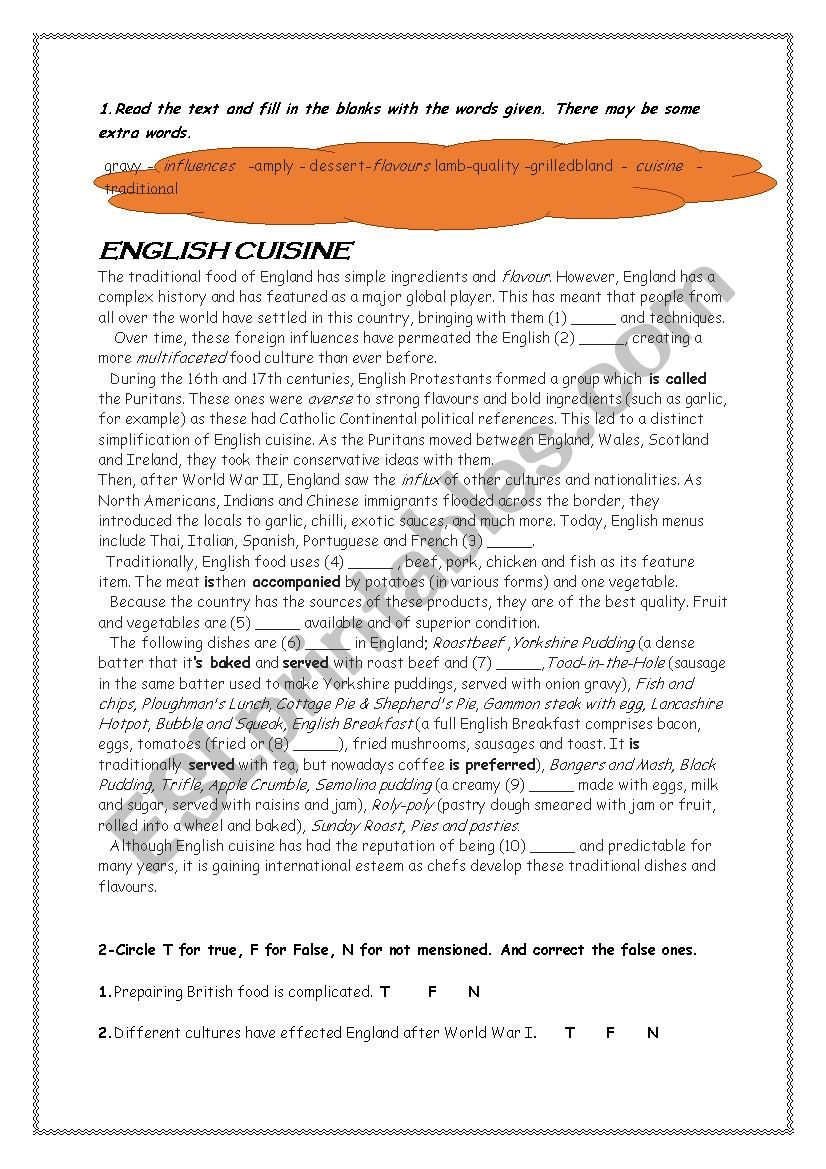 English Cuisine worksheet
