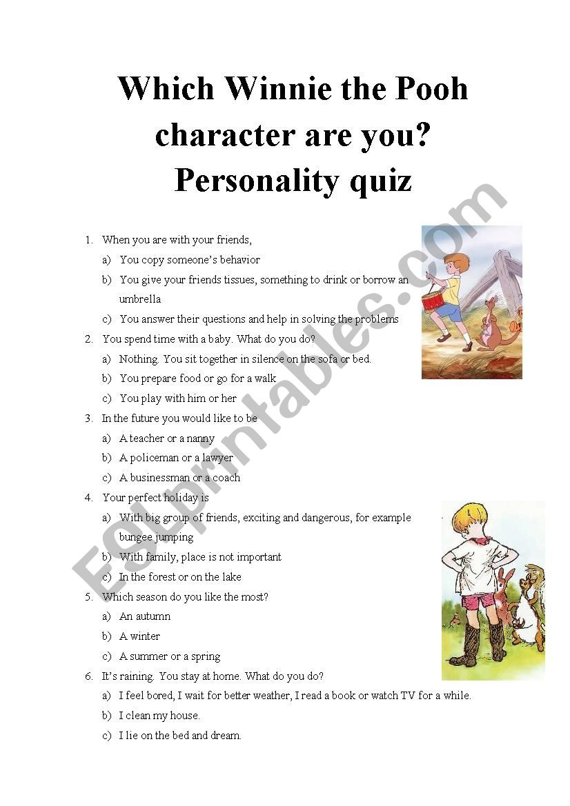 graphic about Printable Personality Quiz identified as Which Winnie the Pooh identity are on your own? Individuality quiz