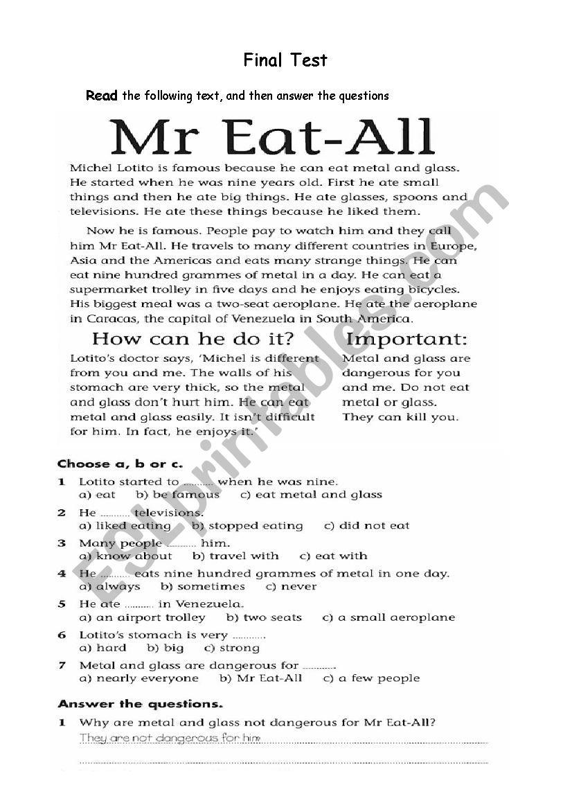 Test for Elementary worksheet