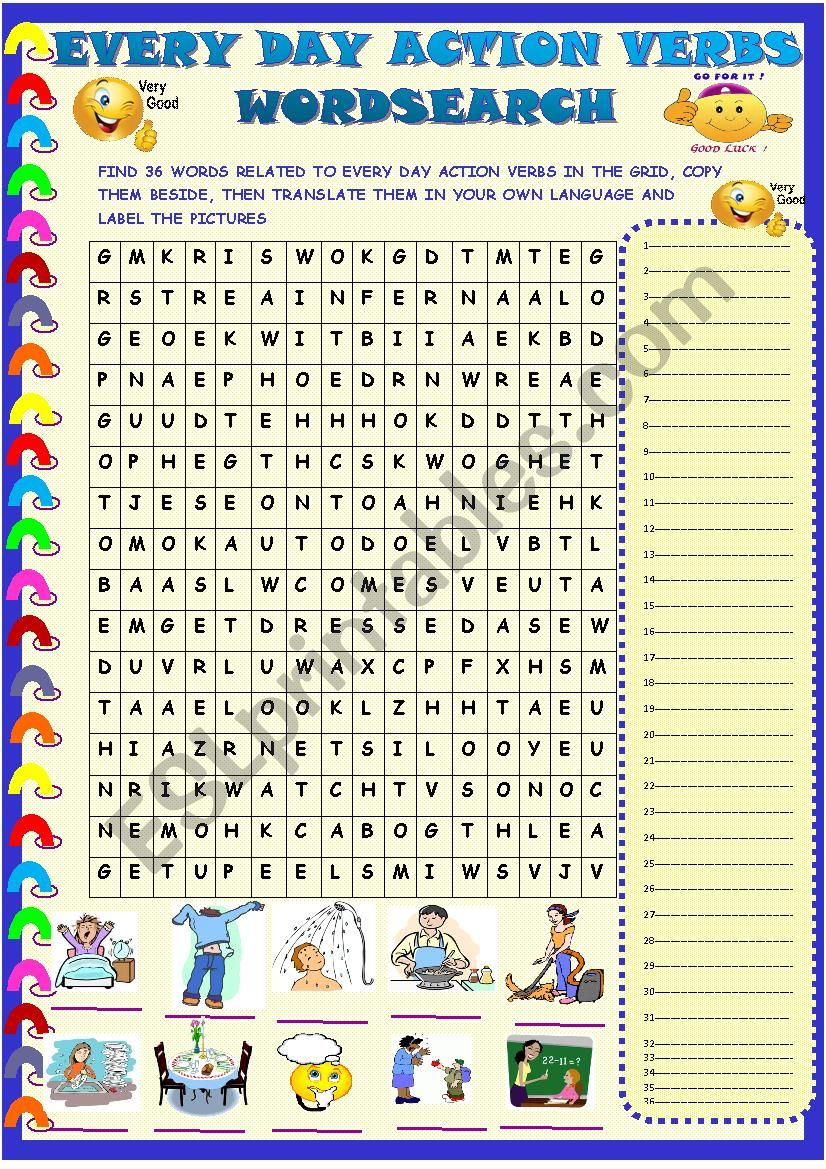 Ever day action verbs: wordsearch with key