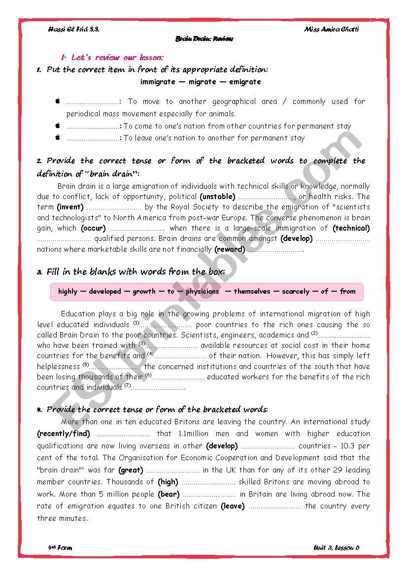 Unit 3 Summary worksheet