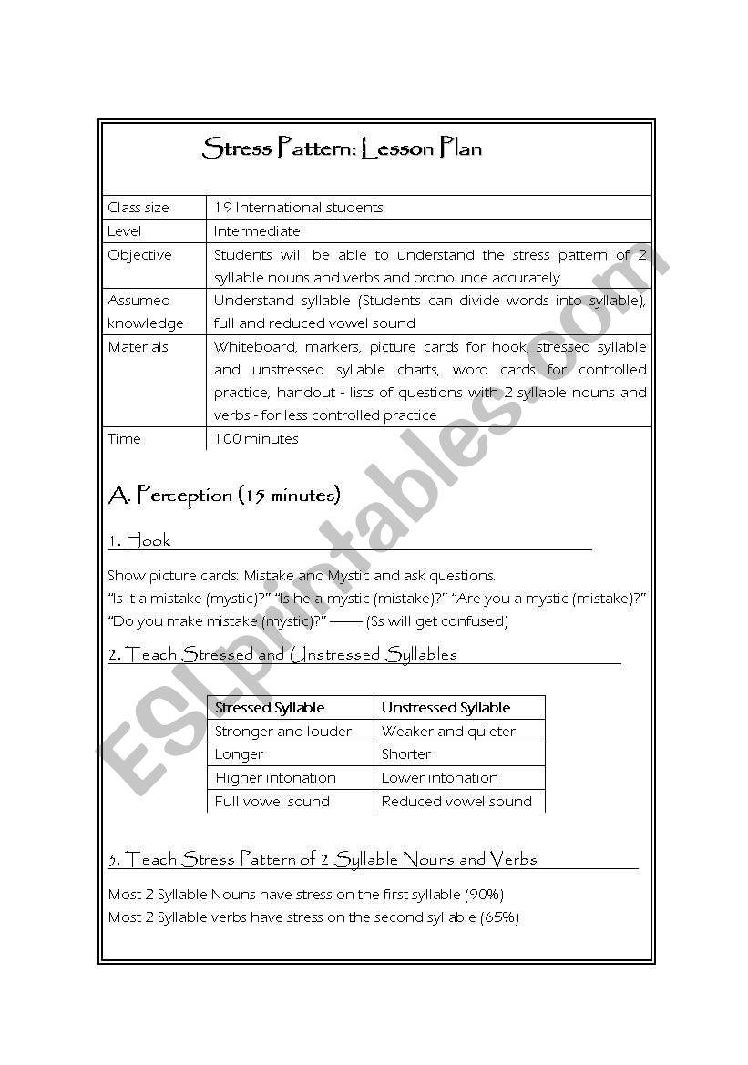 stress pattern lesson plan esl worksheet by mi1an. Black Bedroom Furniture Sets. Home Design Ideas