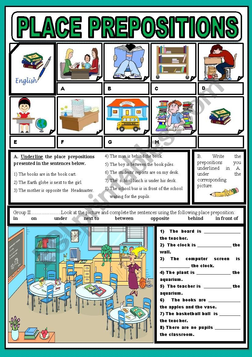 Place prepositions in school worksheet