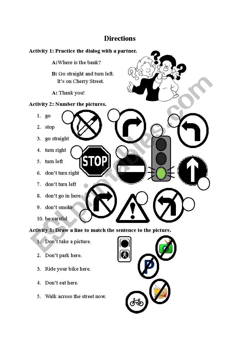 Simple Directions worksheet
