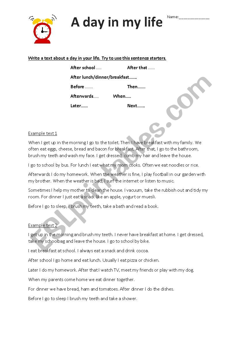A day in my life worksheet