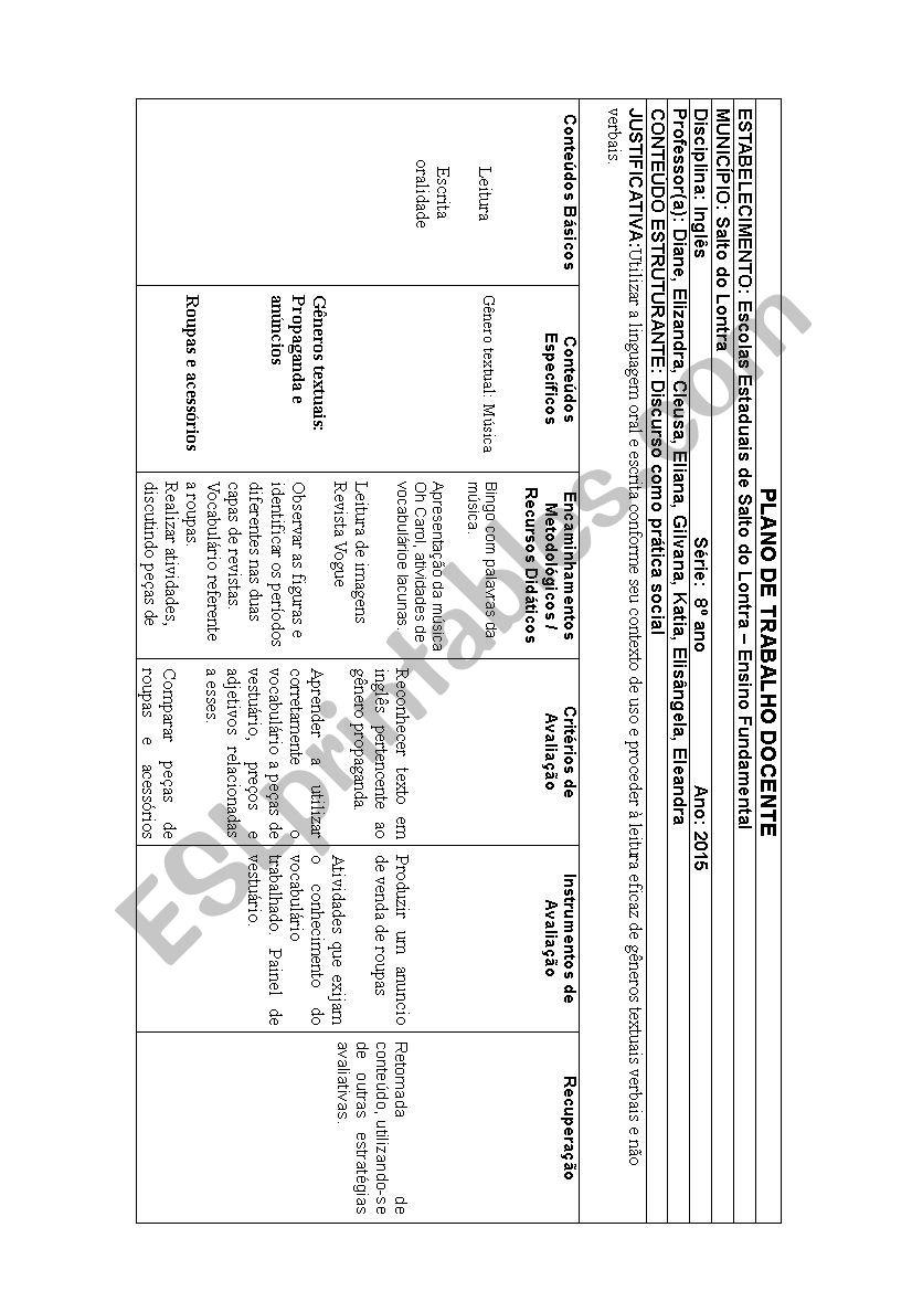 planning from Brazil school worksheet