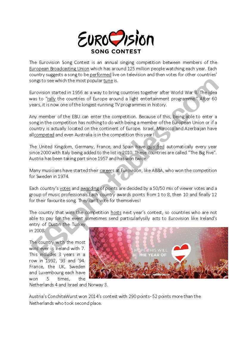 Eurovision Song Contest - ESL worksheet by niniflan